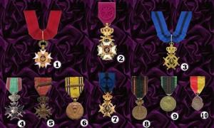Mdéailles et Décorations reçues par le Oscar D'Ardenne tout au long de sa carrière d'Officier