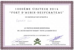 20140921 - 1000e visiteur du Fort cette saison